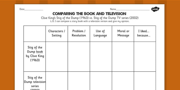Stig of the Dump Comparing Book and Television Differentiated