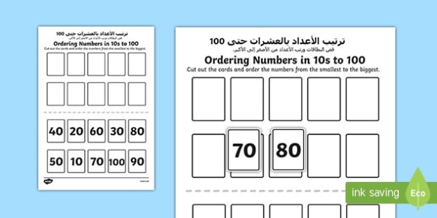 Ordering Numbers in 10s to 100 Activity Arabic