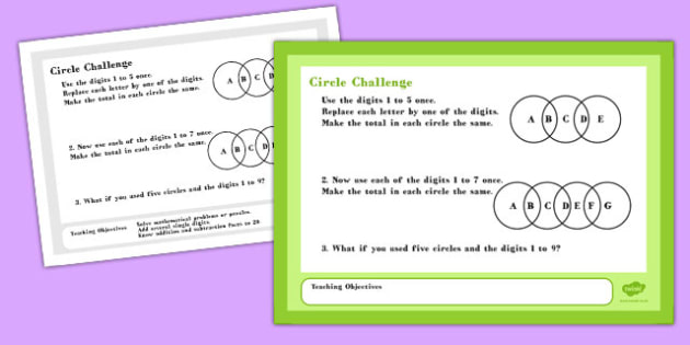 A4 Circle Maths Challenge Poster - challenge poster, circle, math