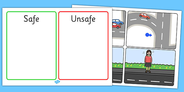 Crossing The Road Safe and Unsafe Sorting Cards - crossing the road safe and unsafe sorting cards, road crossing, crossing, safe, sorting cards, discussion cards, cards, flashcards, sorting, road signs, give way, one way, stop, road safety, rules