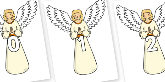 Numbers 0-100 on Angels - 0-100, foundation stage numeracy, Number recognition, Number flashcards, counting, number frieze, Display numbers, number posters
