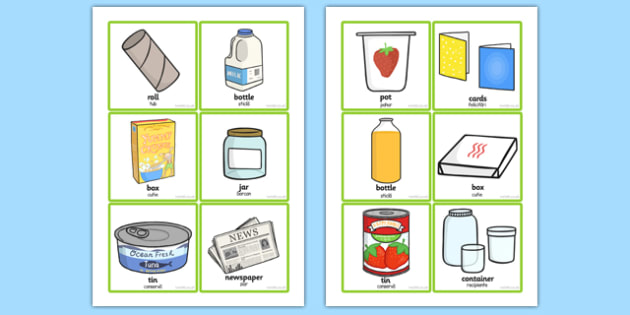 Recycling Sorting Cards Romanian Translation - romanian, recycle, sort, game, games, activity