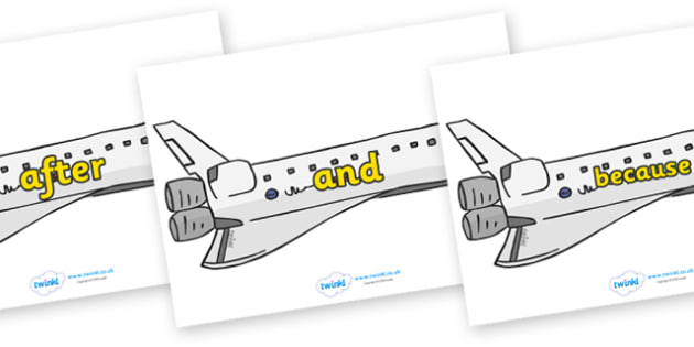 Connectives on Space Shuttles - Connectives, VCOP, connective resources, connectives display words, connective displays