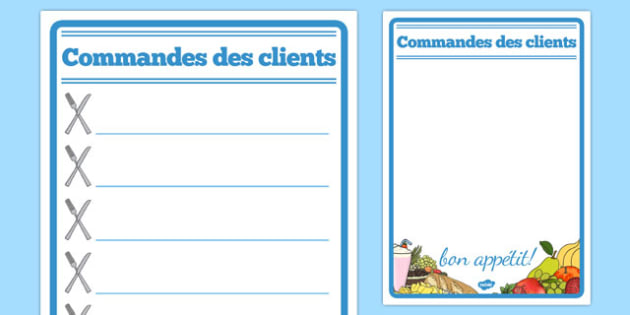 Commandes des clients Restaurant Role Play Notepad French - french, food, roleplay, props, cafe