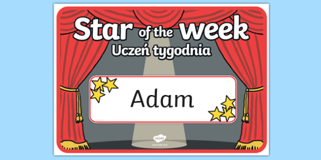 Star of the Week Stage A3 Poster Polish Translation - polish, star of the week, A3 poster, poster, star of the week poster, classroom display, behaviour management, reward, award