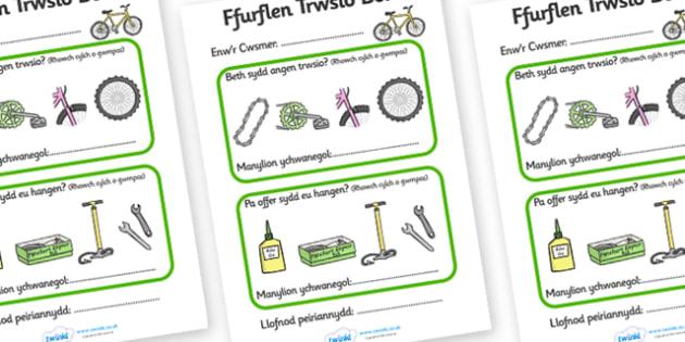 Ffurflen Trwsio Beic - Welsh, Wales, bicycle, foundation, display, banner, sign, bike, repairs form, shop, repair, poster, languages, cymru
