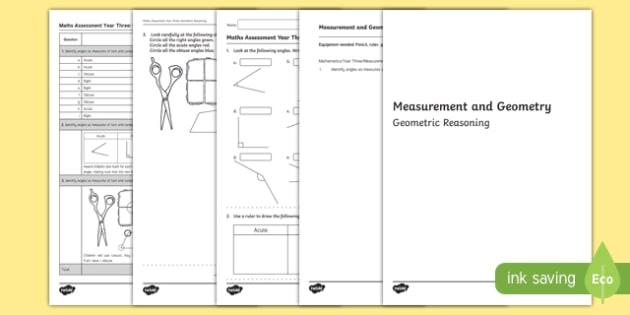 Year 3 Measurement and Geometry Geometric Reasoning Assessment - australia, year 3, measurement and geometry, measurement, geometry, geometric reasoning, assessment