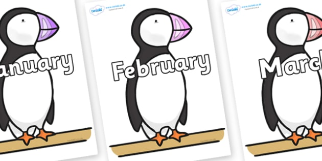 Months of the Year on Puffin to Support Teaching on The Great Pet Sale - Months of the Year, Months poster, Months display, display, poster, frieze, Months, month, January, February, March, April, May, June, July, August, September