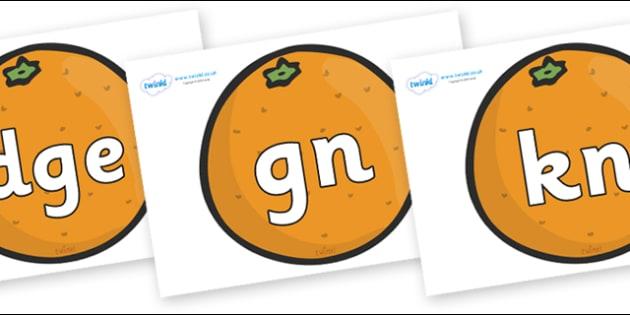Silent Letters on Oranges - Silent Letters, silent letter, letter blend, consonant, consonants, digraph, trigraph, A-Z letters, literacy, alphabet, letters, alternative sounds