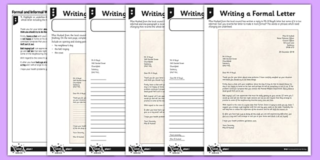 Writing a Formal Letter Differentiated Activity Sheet Pack - GPS, language, grammar, subjunctive, worksheet