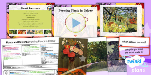 PlanIt - Art UKS2 - Plants and Flowers Lesson 2: Drawing Plants in Colour Lesson Pack