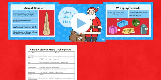 Advent Calendar Maths Challenges KS1 - advent, calendar, maths, challenges, ks1