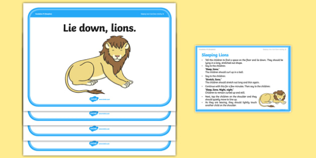 Foundation PE (Reception) Sleeping Lions Cool-Down Activity Card - physical activity, foundation stage, physical development, games, dance, gymnastics