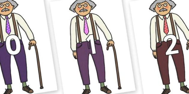 Numbers 0-31 on Little Old Man - 0-31, foundation stage numeracy, Number recognition, Number flashcards, counting, number frieze, Display numbers, number posters