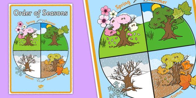 Order of Seasons Display Poster - seasons, weather, changes, ks1, year 1, year one, y1, science, display, poster