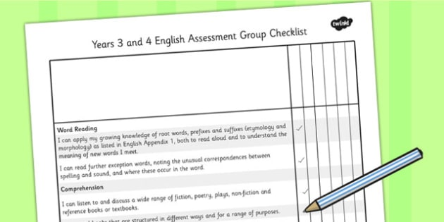 2014 Curriculum LKS2 Years 3 and 4 English Assessment Group Checklist
