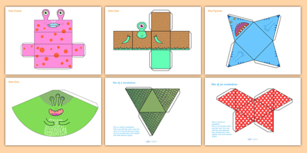 Patterned 3D Shape Nets - 3D, shapes, 3D shapes, cutting skills