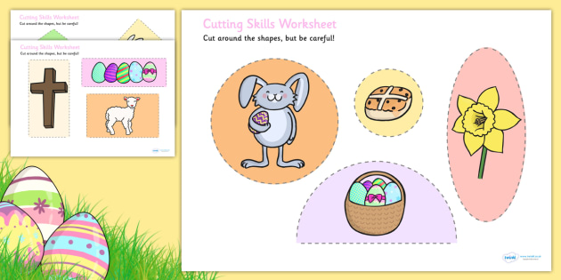 Easter Themed Cutting Skills Worksheets - cut, fine motor skills