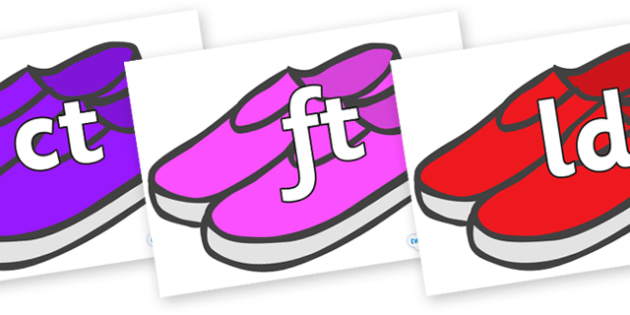 Final Letter Blends on Shoes - Final Letters, final letter, letter blend, letter blends, consonant, consonants, digraph, trigraph, literacy, alphabet, letters, foundation stage literacy