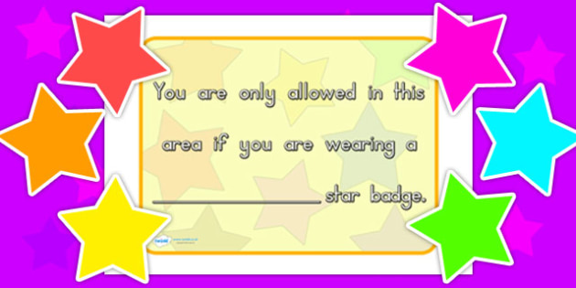 Area Display Sign Star Badges - classroom areas, signs, labels