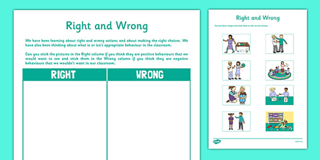 Right and Wrong Activity Sheet - CfE, Health and Wellbeing, Rights Respecting Schools, worksheet