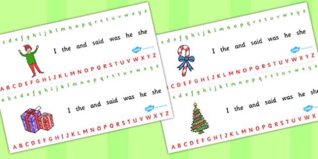Elf Themed Alphabet Strips - elf, alphabet elf on the shelf