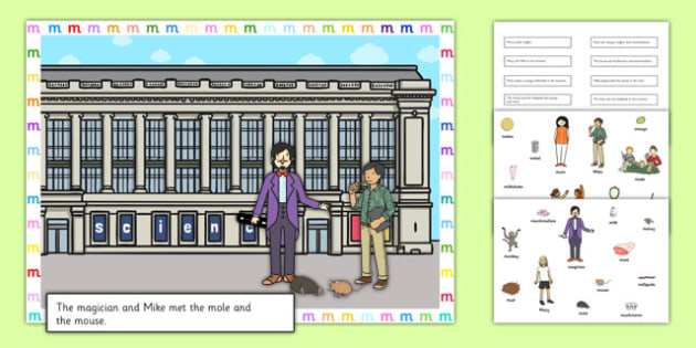 Silly M Sentences Cut and Stick Pictures - silly m, sentence, cut and stick, pictures