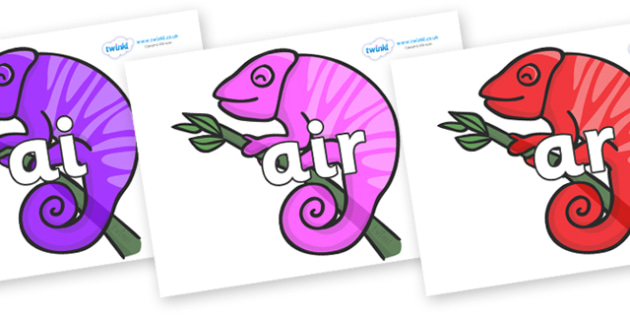 Phase 3 Phonemes on Chameleons - Phonemes, phoneme, Phase 3, Phase three, Foundation, Literacy, Letters and Sounds, DfES, display