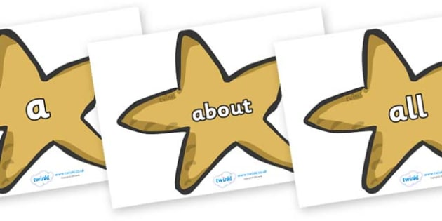 100 High Frequency Words on Starfish - High frequency words, hfw, DfES Letters and Sounds, Letters and Sounds, display words