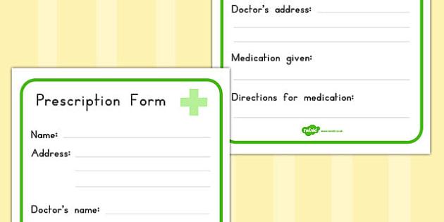 Pharmacy Role Play Prescription Form - medicines, forms, health