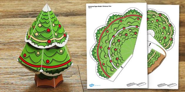 Christmas Paper Model Tree - festive, models, activities, create