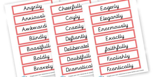 KS2 Adverbs Display Cards - KS2 Verbs and Adverbs Primary Resources, Verbs, Adverbs, KS2 Words