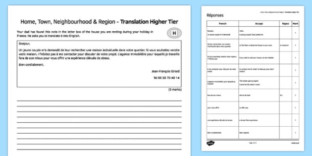 Home, Town, Neighbourhood and Region Higher Tier Translation Activity Sheet-French, worksheet
