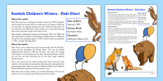 Scottish Children's Writers Debi Gliori Information Sheet - CfE, Literacy, Scottish Children's Writers, Debi Gliori