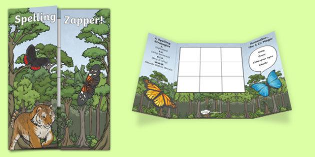 Rainforest Themed Blank Spelling Zapper - spelling zapper, spell, spelling, zapper, dyslexic, dyslexia, learn, tricky words, personalise, words, blank, rainforest