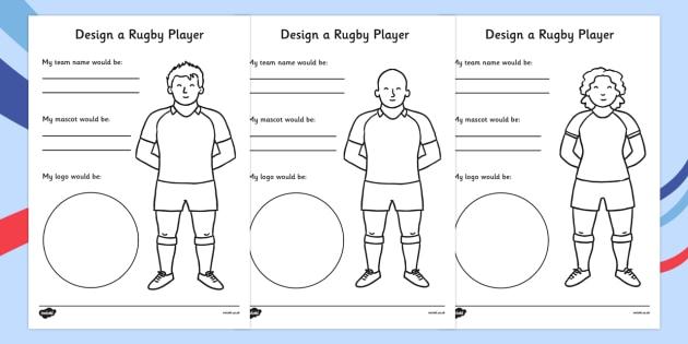 Design a Rugby Player Worksheet - rugby player, design, worksheet