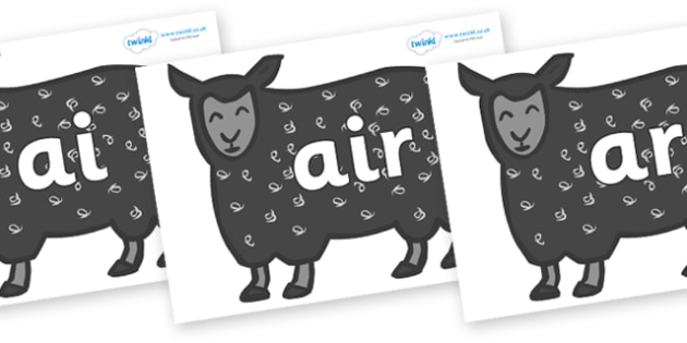 Phase 3 Phonemes on Black Sheep to Support Teaching on Brown Bear, Brown Bear - Phonemes, phoneme, Phase 3, Phase three, Foundation, Literacy, Letters and Sounds, DfES, display