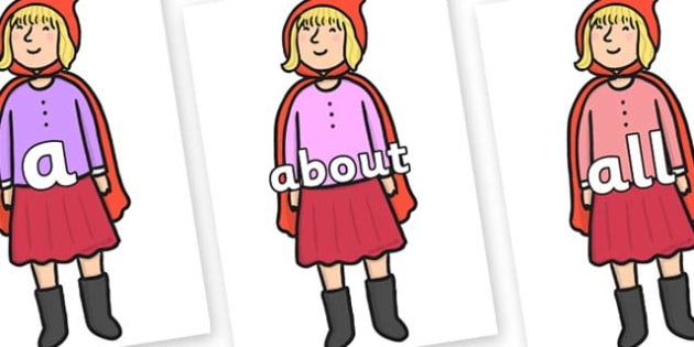 100 High Frequency Words on Red Riding Hood to Support Teaching on The Jolly Christmas Postman - High frequency words, hfw, DfES Letters and Sounds, Letters and Sounds, display words