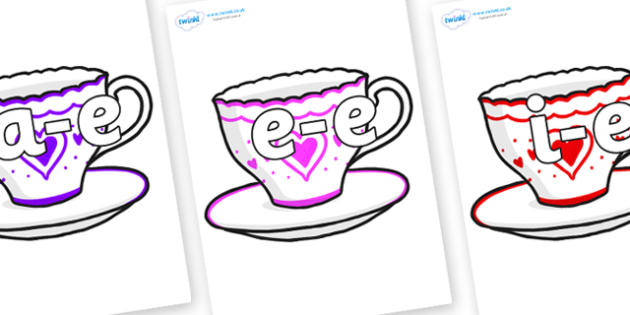 Modifying E Letters on Cups and Saucers - Modifying E, letters, modify, Phase 5, Phase five, alternative spellings for phonemes, DfES letters and Sounds