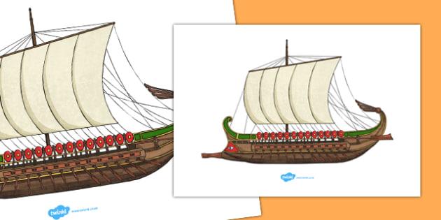 Roman Ship Cut Out A4 - roman ship, a4, cut out, cut, out, roman, ship