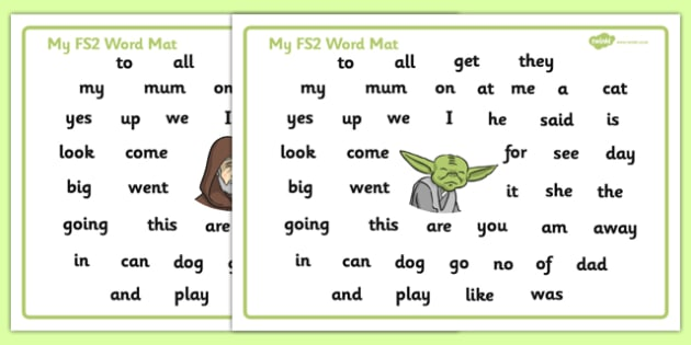 Space Wars Themed FS2 Word Mat - space wars, star wars, space, wars, star, fs2, word mat