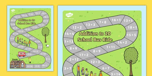 Addition Bus Board Game - add, adding, games, maths, numeracy