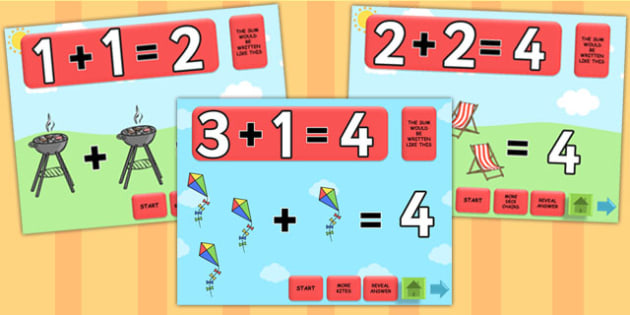 Summer Themed Addition PowerPoint - seasons, weather, add, maths