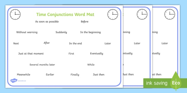 Time Conjunctions Word Mat - time connectives, mat, time, connectives