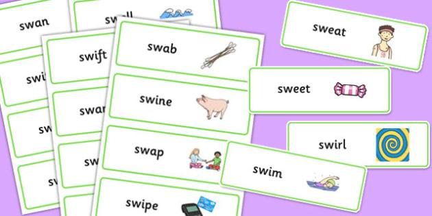 SW Word Cards - sw sound, word cards, word, cards, sound, syllables
