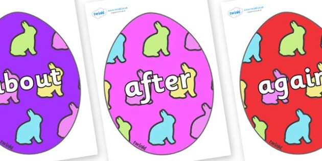 KS1 Keywords on Easter Eggs (Rabbits) - KS1, CLL, Communication language and literacy, Display, Key words, high frequency words, foundation stage literacy, DfES Letters and Sounds, Letters and Sounds, spelling