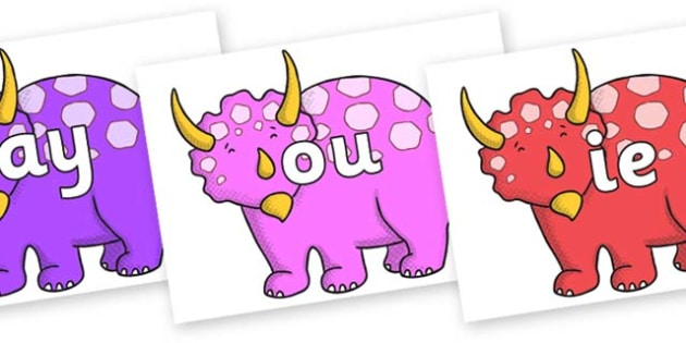 Phase 5 Phonemes on Triceratops - Phonemes, phoneme, Phase 5, Phase five, Foundation, Literacy, Letters and Sounds, DfES, display
