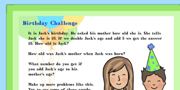 A4 KS1 Birthday Maths Challenge Poster - Birthday, Maths, Poster