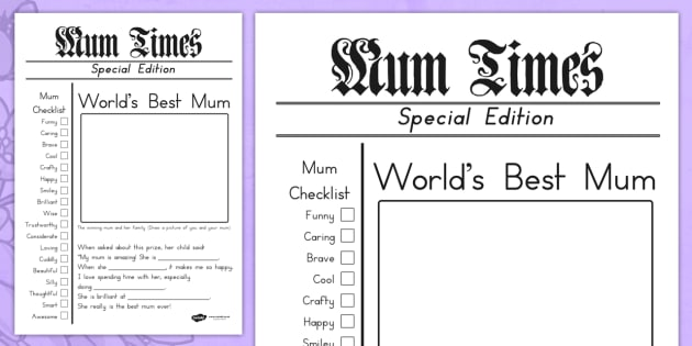 Mothers Day Newspaper Card Template - mothers day cards, card