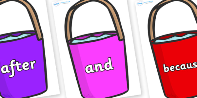 Connectives on Buckets - Connectives, VCOP, connective resources, connectives display words, connective displays